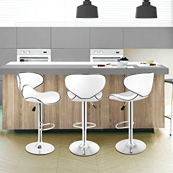 Amazon.com: LANGRIA White Bar Stools Sets Adjustable Swivel Counter ...