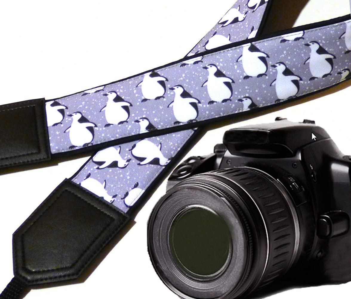 Durable Black and Grey Camera Strap Code 00066 Light Weight and Well Padded Camera Strap Penguin Camera Strap DSLR//SLR Camera Strap