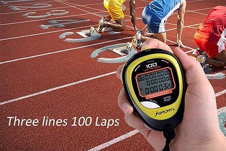 Cronómetro digital profesional con tres filas de visualización de atletismo, cronómetro de carreras, con 100 vueltas de memoria, tiempo dividido para entrenadores y árbitros deportivos: Amazon.es: Deportes y aire libre