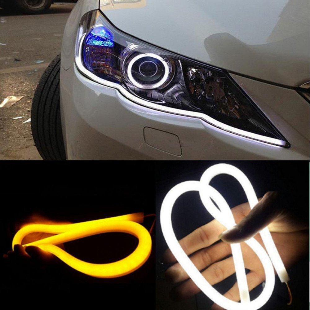 Shinho 60CM White/Amber Switchback DRL Flexible LED Tube Strip Style Daytime Running Lights Car Headlight Turn Signal Light