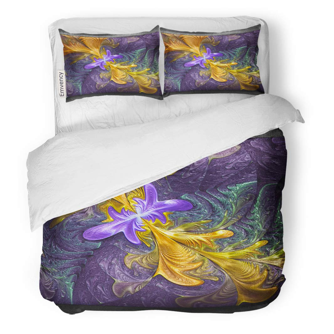 Semtomn Decor Duvet Cover Set King Size Colorful Pattern 3D Rendering of Plastic Embossed Fractal 3 Piece Brushed Microfiber Fabric Print Bedding Set Cover