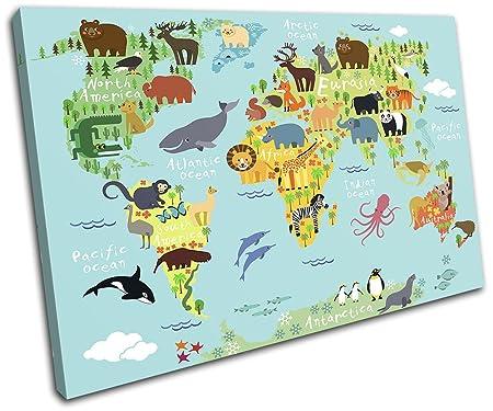 Bold bloc design animal kids nursery world maps flags 75x50cm bold bloc design animal kids nursery world maps flags 75x50cm single canvas art print box gumiabroncs Gallery