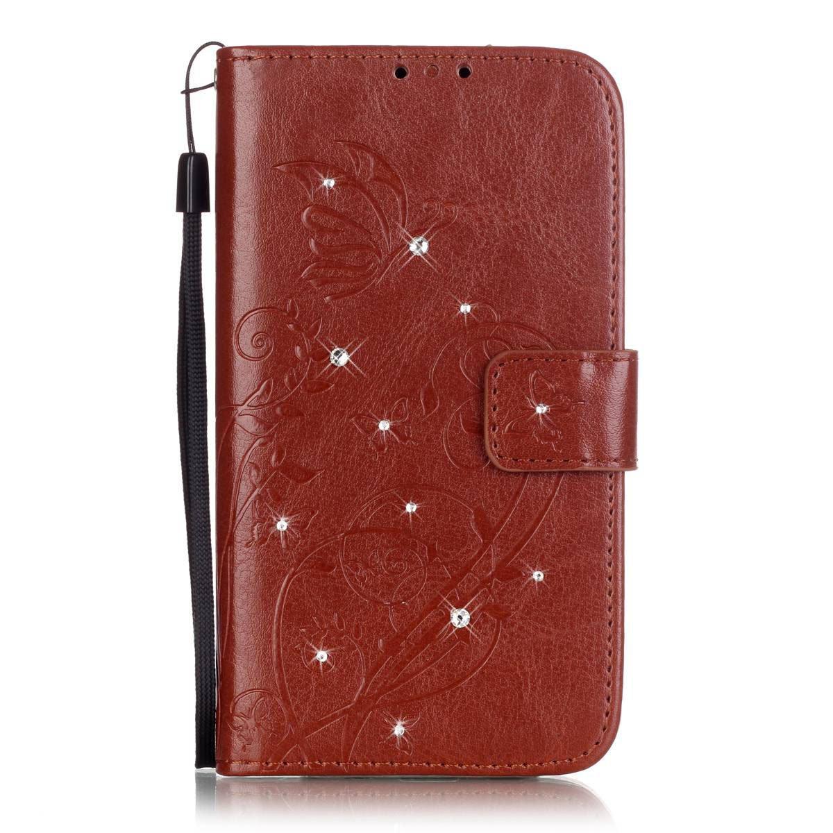 IKASEFU Bling /グリッター/ダイヤモンドPUレザーバタフライフラワーパターンフォリオ財布型フリップ保護ケースカバーwith Strap / Rope for Samsung Galaxy Note 5-butterfly、レッド Samsung Galaxy Note 5 WX7674X8   B01JE935JA