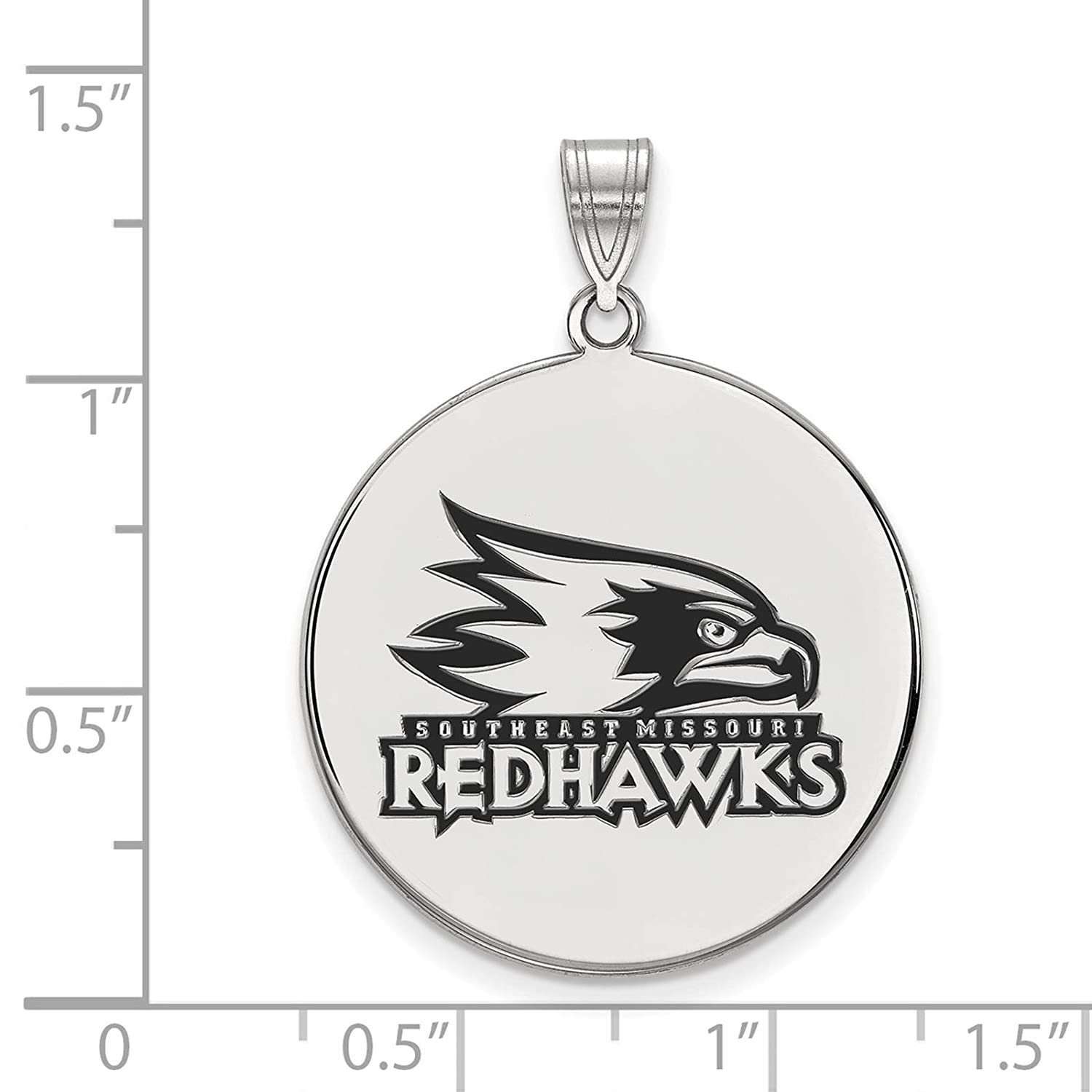 925 Sterling Silver Rhodium-plated Laser-cut SE Missouri State XL Enameled Disc Pendant