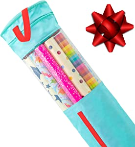 """Clutter Armour Wrapping Paper Storage – Gift Wrap Organizer That Fits 40"""" Rolls with Section for Storing Ribbons & Bows, Gift Tags & Tape – Best for Keeping All Your Gift Wrapping Supplies Organized"""