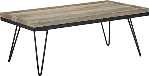 Christopher Knight Home Eve Coffee Table Modern Contemporary Industrial Faux Wood with Iron Hairpin Legs Antique Gray and Matte Black