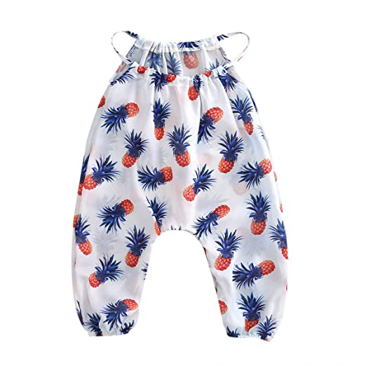 9402ddbe7e4 Newborn Baby Girls Clothes Pineapple Halter Rompers Jumpsuit Sunsuit 0-3T  Summer Apparel Outfits (