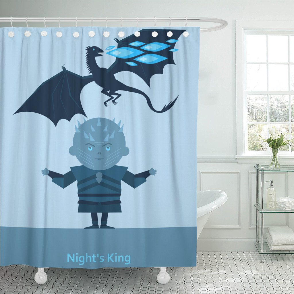 Emvency Shower Curtain Game King of The Night and Dragon with Blue Flame White Zombie Waterproof Polyester Fabric 72 x 72 inches Set with Hooks