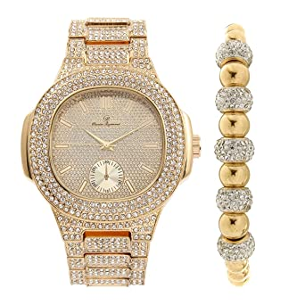 3125d11b95bef Bling-ed Out Oblong Case Metal Mens Gold Watch w/Matching Bling-ed Out Gold  Shamballa Jewelry Bracelet Gift Set - 8475GSham