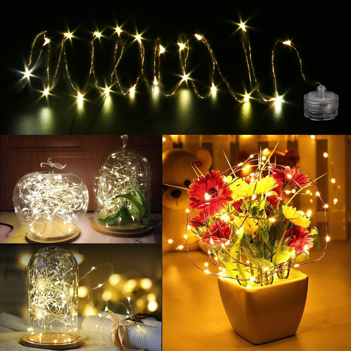 LED Starry String Lights, 8PCS 6.5foot Warm White Copper Fairy Lights with 20 Micro LEDs, Waterproof, Battery Operated, for Wedding Parties Table Decoration by YUNLIGHTS (Image #6)