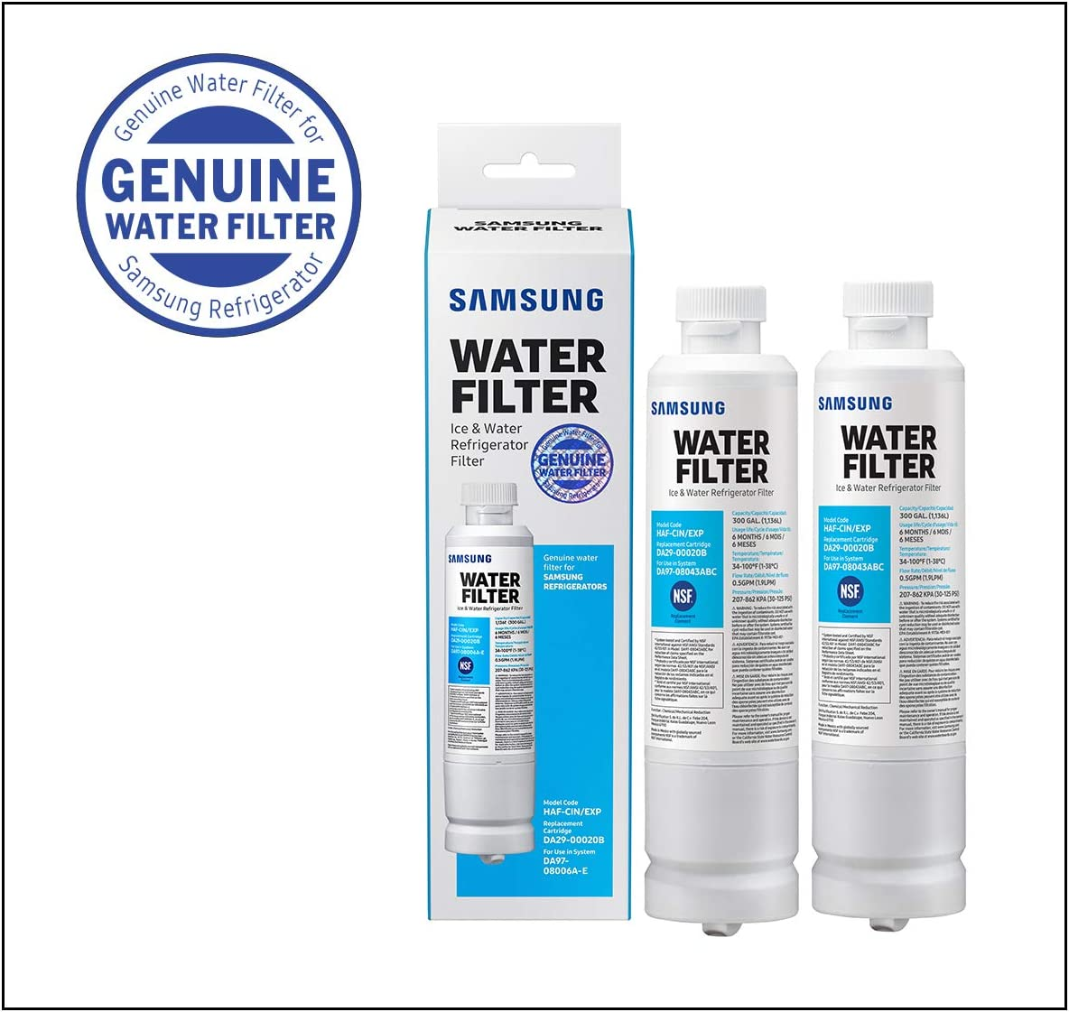 SAMSUNG Electronics HAF-CIN Refrigerator Water Filter, 2 Pack, White, 2