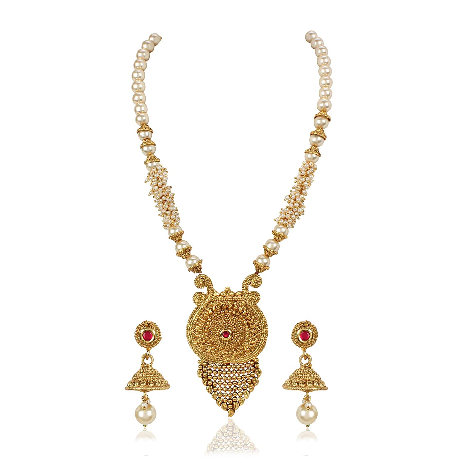 Buy Shining Diva Fashion Latest Pearl Design Necklace Set For