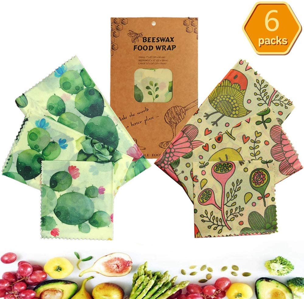 Reusable Beeswax Food Wrap (6 Packs), Beeswax Wrap, Eco Friendly, Organic,Zero Waste, Bees Wax Food Storage Wrappers Cling Sandwich, Alternative To Plastic Bags, Sustainable Products