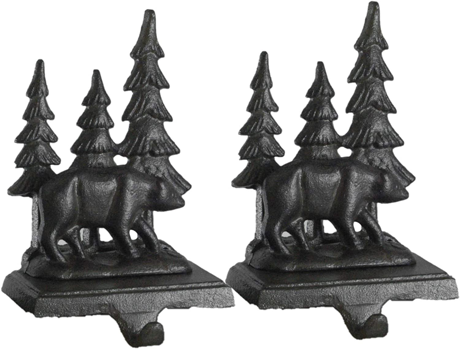 Party Explosions Woodland Grizzly Bear Cast Iron Stocking Holder - Set of 2