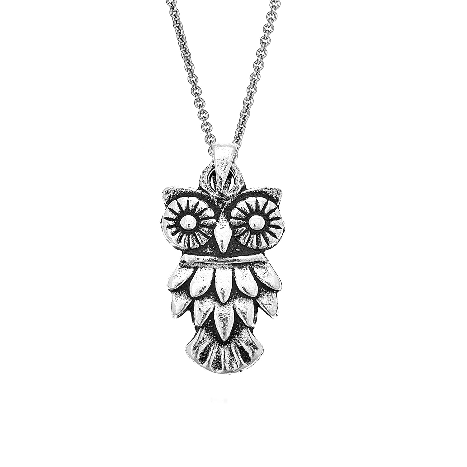 Ritastephens Sterling Silver Owl Charm Pendant Necklace 18 Inches