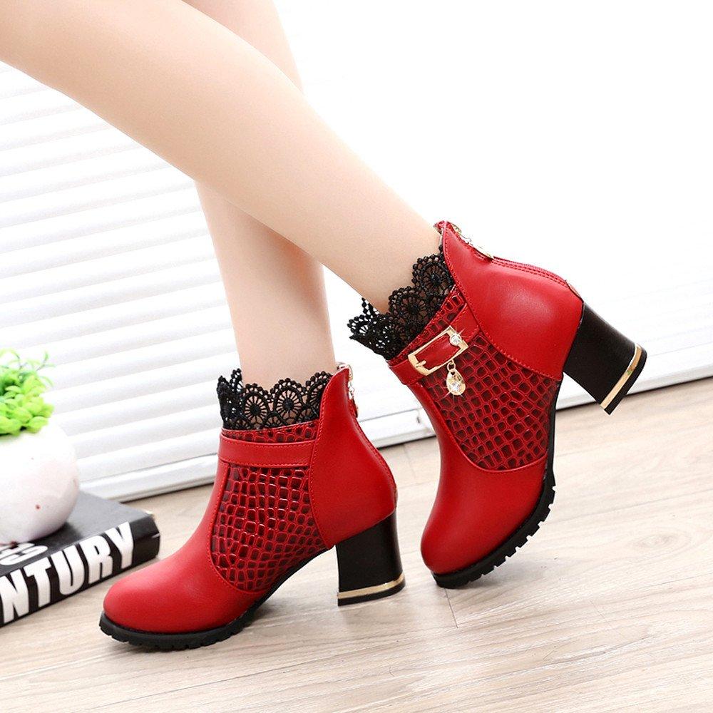 b8e5efe4de7f ZYUEER Femmes Talon Lacet De Soiree Chaussures Compensé Dentelle Mode Ankle  Boots Femme Bottes Neige Chaud Pas Cher