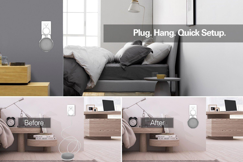 Blanc MoKo Support de Suspension de Mini Audio Intelligent,Support de Suspension de Bti de Mur pour Les Mini Orateurs Intelligents de Haut-Parleur de Google Home,Gestion Int/égr/ée de Cble