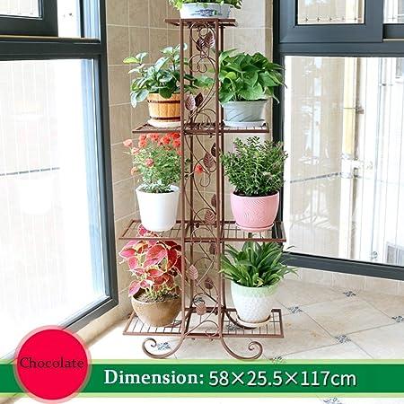 Estantes de Flores de 4 Niveles Plancha de Metal talladas para macetas de Flores Estantería de Soporte Almacenamiento de jardín para Interiores o Exteriores, Balcón 58x25x118cm (Color Chocolate): Amazon.es: Hogar