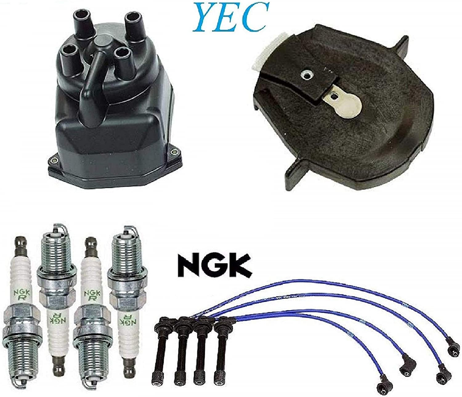 Tune Up Kit Cap Rotor Wires Plugs for Honda Accord DX; L4; 2.3L 1998-2002 F23A5 Eng.; Non V-Tec