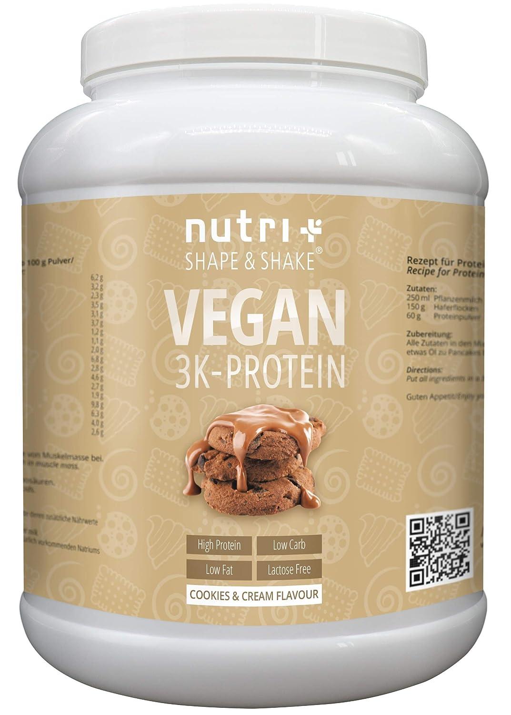 EIWEIßPULVER VEGAN Cookies & Cream 1kg | 81,9% Eiweiß | Nutri-Plus Shape & Shake 3k-Protein