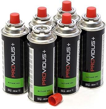 Pack de 6 cartucho gas 230 g butano Mix – Botella de Gas con baillonnette 410 ml – Bombona para réchauds Camping