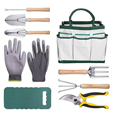 DRILLPRO 9 Piece Garden Tool Set, Gardening Steel Tools All-in-One Tool Bag, Durable Folding Stool, Stainless Steel Hand Tools Kit Bag