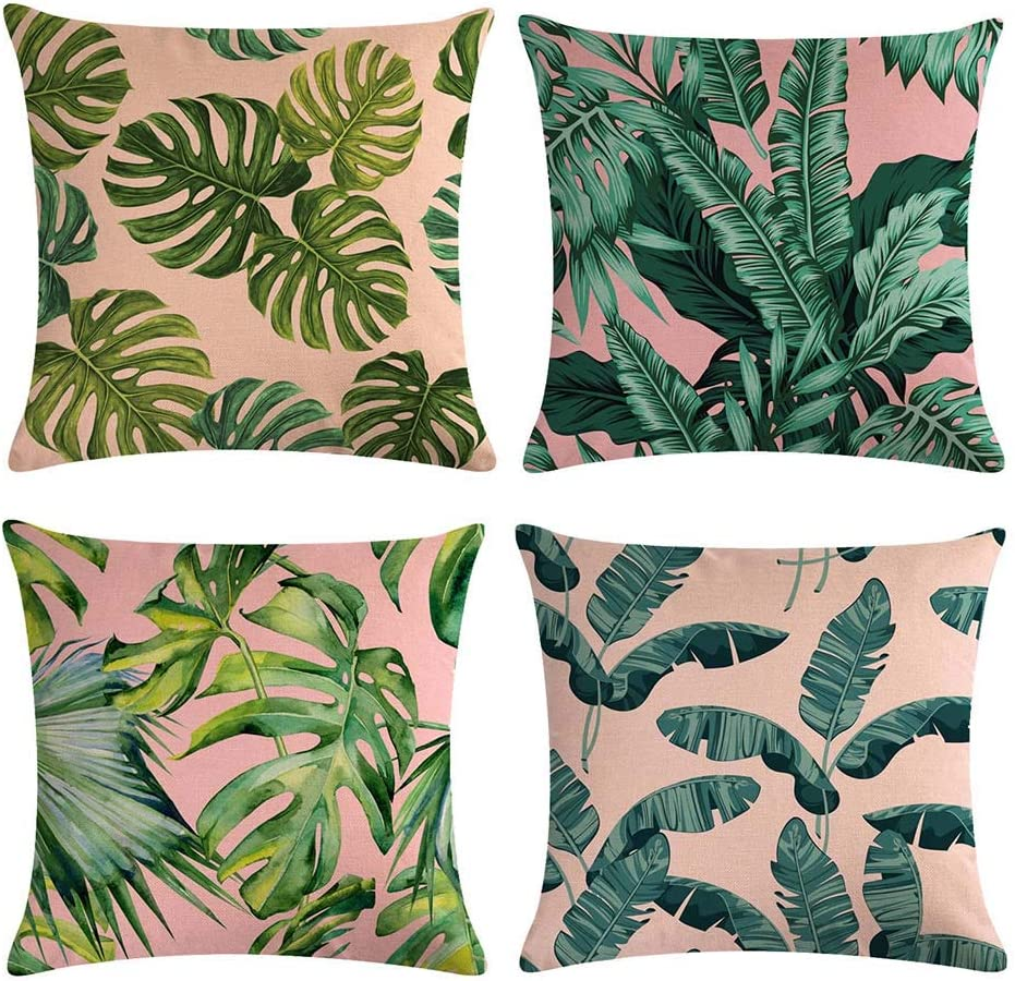 Pack of 4 Decorative Tropical Plants Throw Pillow Covers Summer Tropical Monstera Banana Palm Leaves Pink Ground 18 x 18 Spring Fall Home Decor Zippered Cushion Cover Pillowcase Room Couch Bed