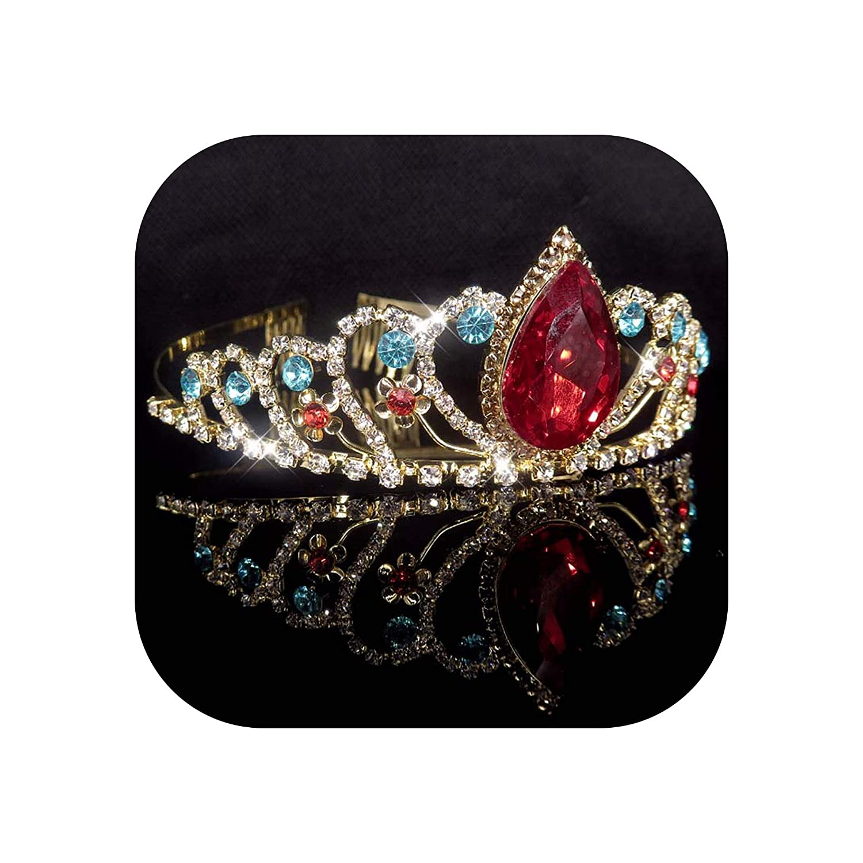 Gold Color Princess Tiara Crystal Rhinestone Tiaras And Crowns Wedding Hair Accessories Birthday Prom Bridal Hair Ornaments,Xs02