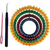 """Circular Knitting Looms Set (6 Pieces) - 4 Round Knitting Looms 14cm (5.5""""), 19cm (7.5""""), 24cm (9.5""""), 29cm (11.5"""") with 1 Looming Hook and 1 Wool Needle - Perfect For Beginners and Professional Knitters With Instructions"""