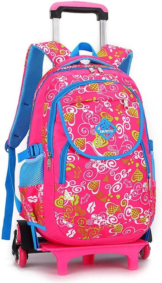 Girl Student Polyester Nylon Trolley Bag Double Shoulder Backpack Hand Pull Box