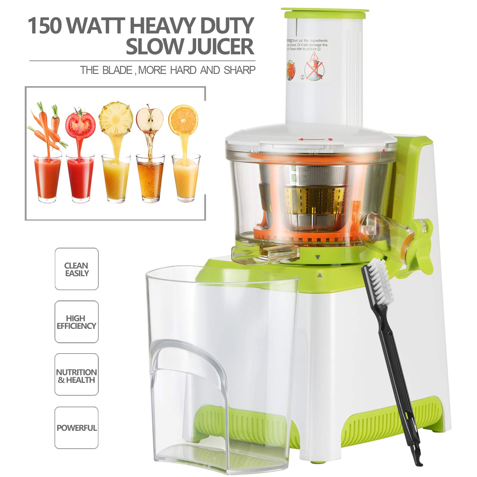 KUPPET Juicer, Slow Masticating Juicer, Higher Juicer Yield, Cold Press Juicer Machine with Quiet Motor & Reverse Function, High Nutrient Fruit & Vegetable Juice, Easy to Clean (Green&White) by KUPPET (Image #5)