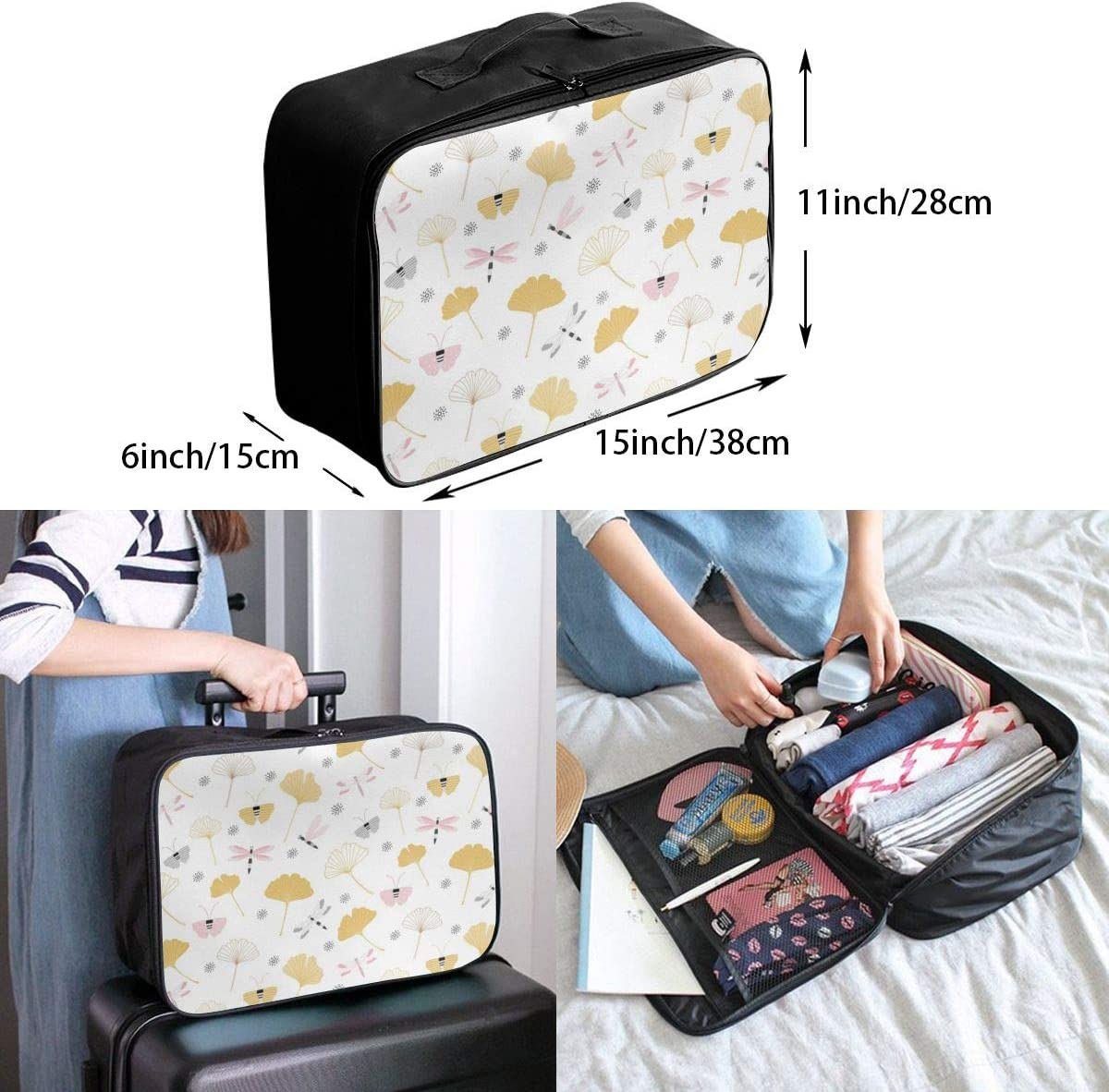 Ginkgo Leaves Insect Lightweight LargeTravel Storage Luggage Trolley Bag Travel Duffel Bags Carry-On Tote