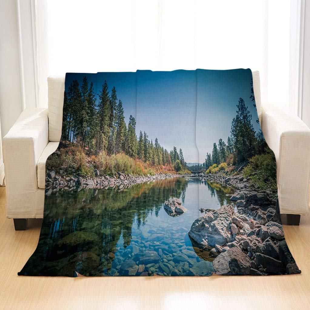 BEIVIVI Super Soft Warm Cozy Blanket The Spokane River Centennial Trail Blanket for Couch Sofa Bed and Outdoors by BEIVIVI