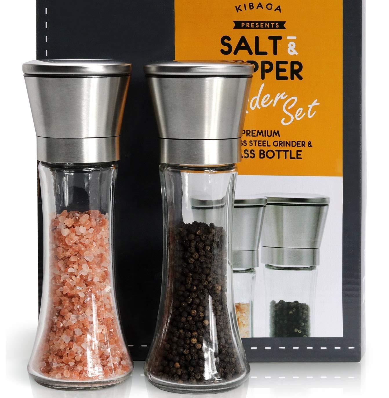 Elegant Salt And Pepper Grinder Set Of 2 - Premium Stainless Steel Pepper Grinder - Enjoy Your Favorite Spices, Fresh Ground Pepper, Himalayan Or Sea Salts KIBAGA kiba-saltpeppergrinder-1