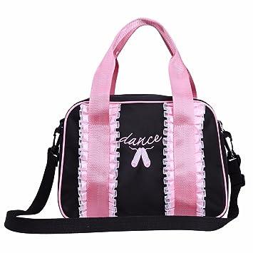 FEESHOW Girl Ballet Dance Shoulder Bag Kids Gymnastics Sports Kit Bag Tote  Black One Size fa11b1990d33c