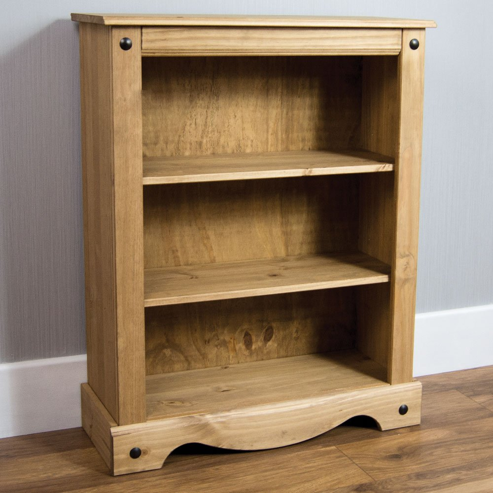 Home Discount Corona Low Book Case, Solid Pine Wood Seconique