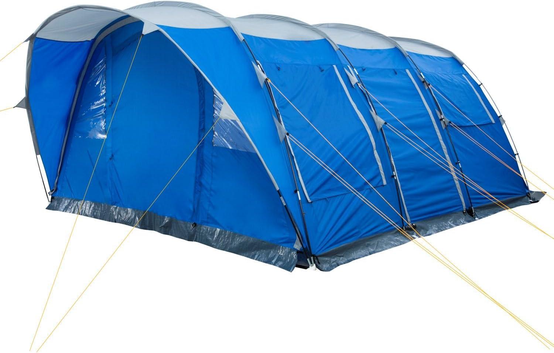Gruppenzelt blau // silber Gro/ßes Familienzelt mit 3 Eing/ängen und 3.000 mm Wassers/äule CampFeuer Campingzelt f/ür 5 Personen Tunnelzelt