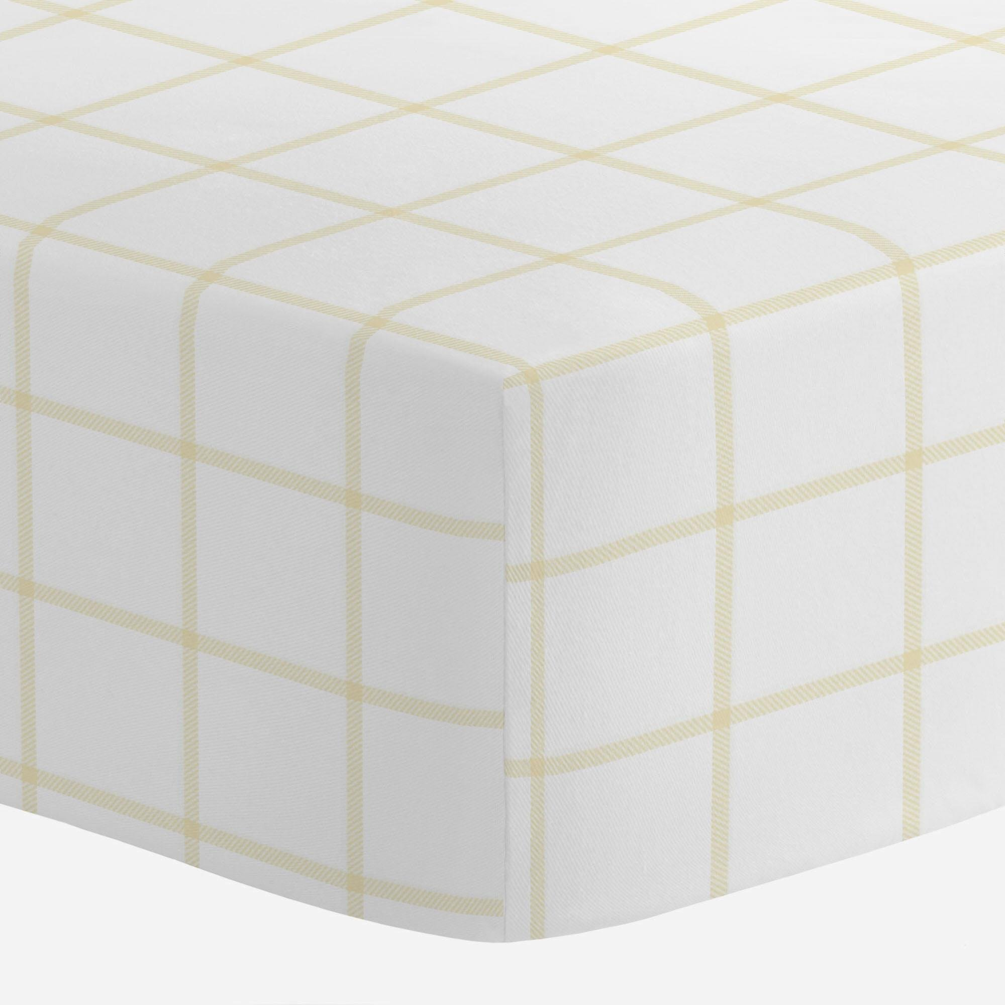 Carousel Designs Pale Yellow Windowpane Crib Sheet - Organic 100% Cotton Fitted Crib Sheet - Made in The USA