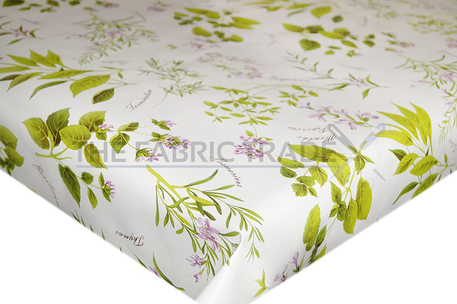 Green Herb Plant Garden Wipe Clean PVC Tablecloth Vinyl Oilcloth Kitchen Table Cover Protector 50 x 140cm