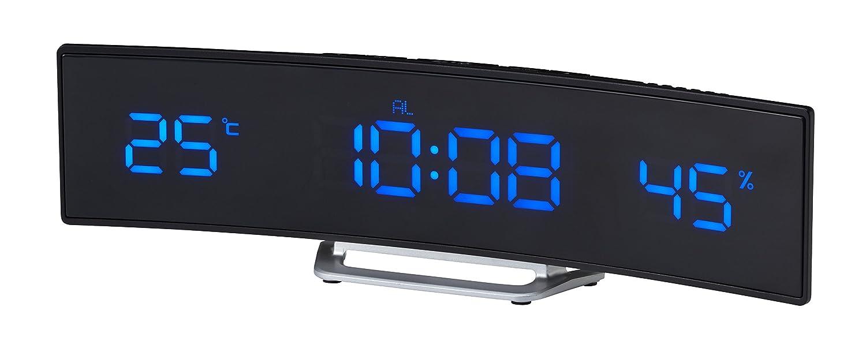 IDEA LABEL電波カーブLEDクロック ブラック LCR117-BK/BL B00TEP5KNYブラック
