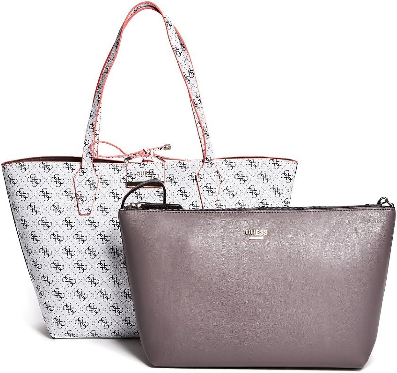 GUESS Bobbi Inside Out Reversible Shopper Travel Tote Bag Handbag Removable Pouch 2PC – White