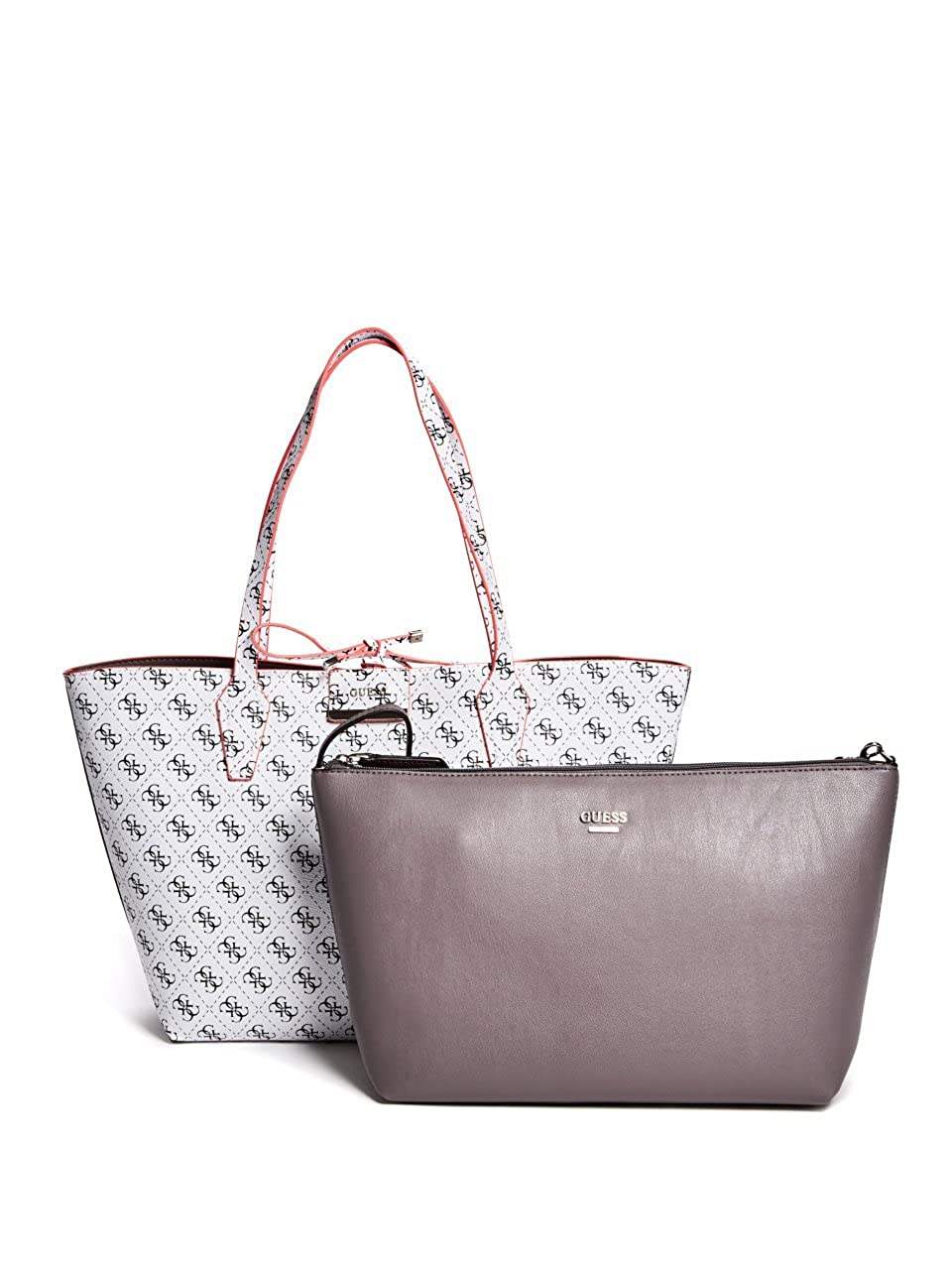 b017591810b Amazon.com: GUESS Bobbi Inside Out Reversible Shopper Travel Tote Bag  Handbag & Removable Pouch 2PC - White: Clothing