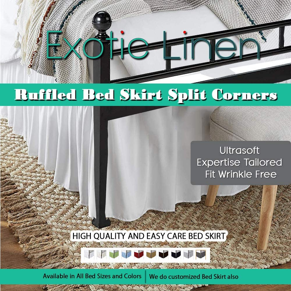 Full-White Available in All Bed Sizes and 10 Colors Ruffled Bed Skirt Split Corners Ultrasoft Poly Cotton//Microfiber Upto 12 Drop Expertise Tailored Fit Wrinkle Free Bed Skirt