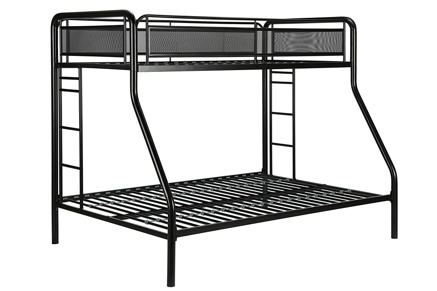 Metal Bunk Bed, Twin-Over-Full, Black Finished, Bedroom Furniture, Metal Slats, Modern Design, Metal Mesh Panels, Bundle with Expert Guide ''Happiness, Health and Better Life''