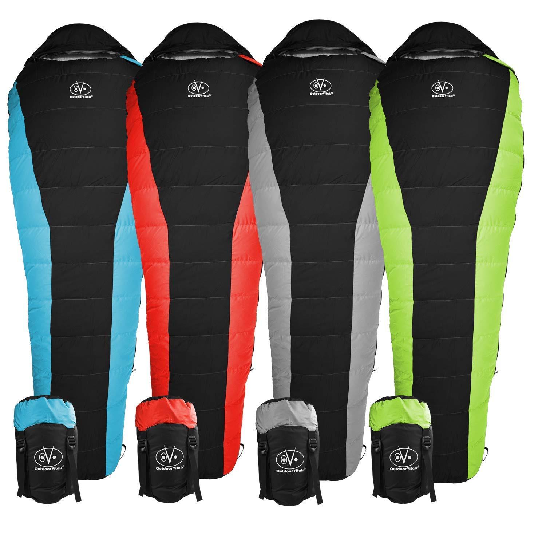Outdoor Vitals Atlas 15°F Lightweight Down Sleeping Bag with Compression Sack & (Red, Regular) [並行輸入品] B07R4WJ56L