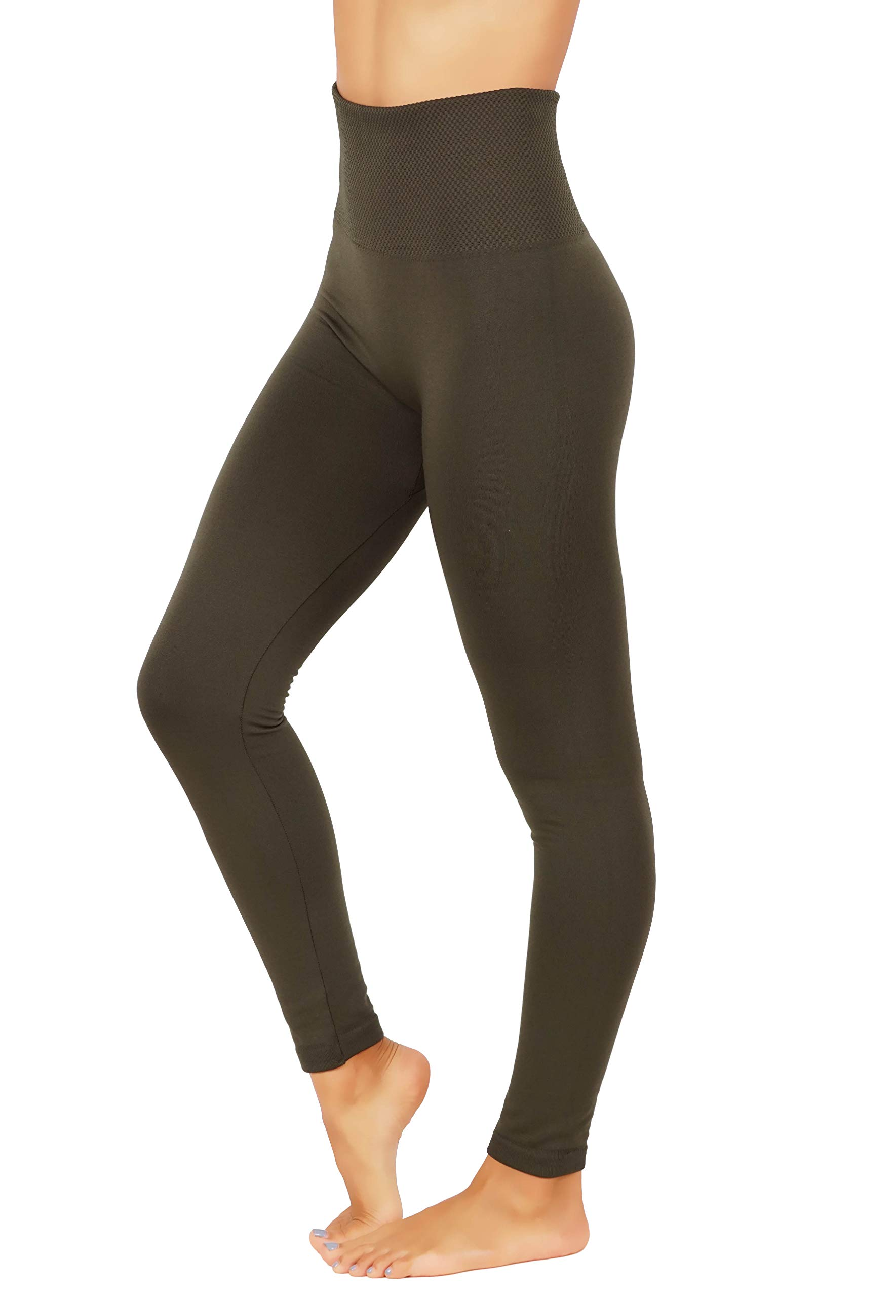 Fit Division Women`s Pants Buttery Soft Fleece Leggings High Waist Winter Thermal (S/M (one Size) US 2-8, FD538-AMG)