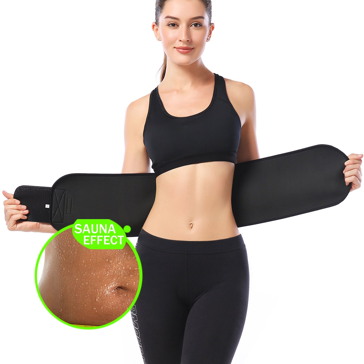b5b0c24120 Amazon.com  KOOCHY Waist Trimmer Slimming Belt - Waist Trainer Weight Loss  AB Belt - Premium Stomach Fat Burner Wrap for Women   Men  Sports   Outdoors