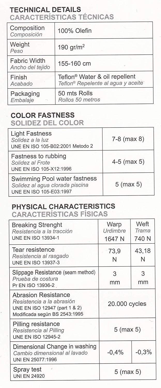 Tela f/ácil de coser. Tela Loneta para exterior hidrofuga con TEFLON y resistente al sol uv Perfecta para tapizados y todo tipo de confecciones para exterior color Crudo//Piedra