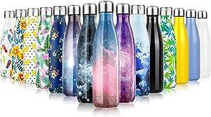 Fancytimes 350/500/750ml Botella de Agua Acero Inoxidable, Aislamiento de Vacío de Doble Pared, Estanqueidad, sin Fugas, Reutilizable para - para Correr, Gimnasio, Yoga, Ciclismo
