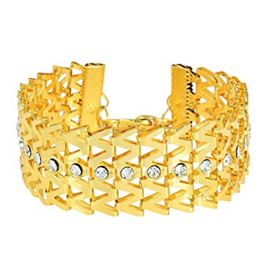 Memoir Gold Plated Cubic Zirconia Wow Design Broad Bracelet For